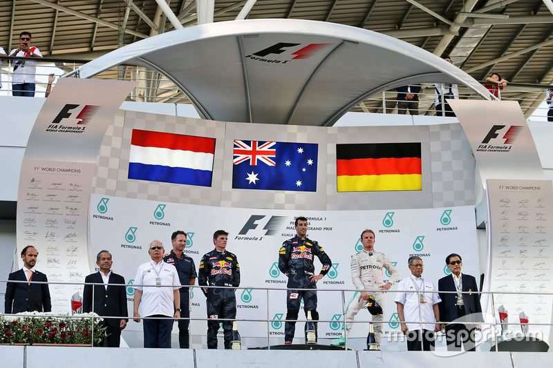 The podium (L to R): Max Verstappen, Red Bull Racing, second; Daniel Ricciardo, Red Bull Racing, rac