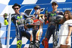 Podium: racewinnaar Dani Pedrosa, Repsol Honda Team, tweede plaats Valentino Rossi, Yamaha Factory Racing, derde plaats Jorge Lorenzo, Yamaha Factory Racing