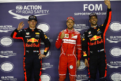 Pole sitter Sebastian Vettel, Ferrari, second place Max Verstappen, Red Bull Racing, third place Daniel Ricciardo, Red Bull Racing