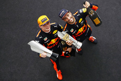 Winner Max Verstappen, Red Bull Racing, Daniel Ricciardo, Red Bull Racing, celebrate on the podium
