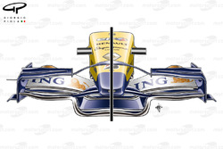 Renault R28 front wing specification comparison (note flap slot differences and endplate canard (left)