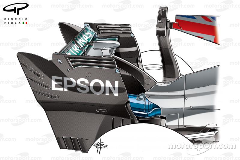 Aileron arrière de la Mercedes W08, GP d'Italie