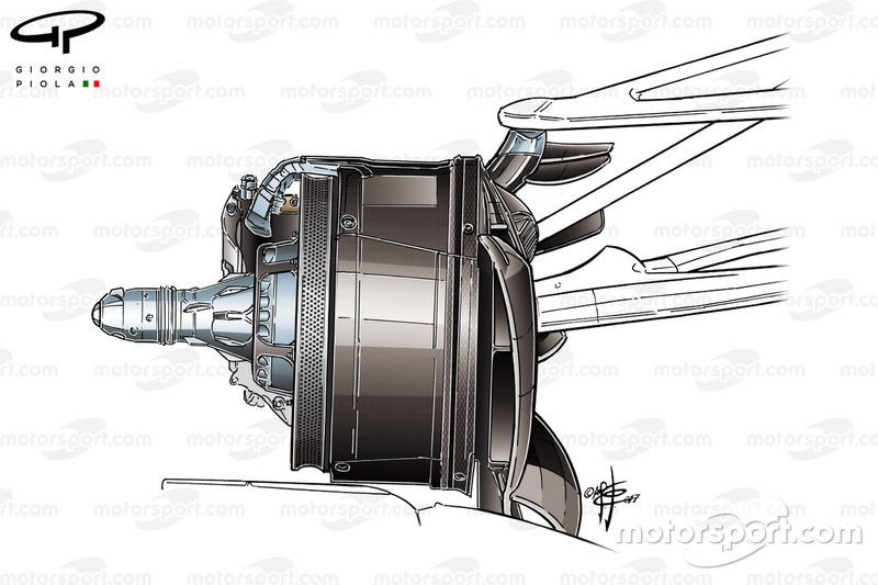 Mercedes F1 W08 brake duct at Canadian GP