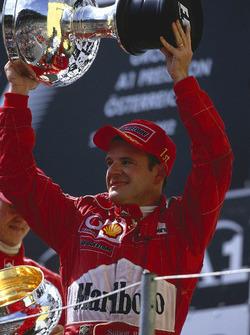 Podium: second place Rubens Barrichello, Ferrari