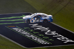 Ricky Stenhouse Jr., Roush Fenway Racing Ford wrecks on Monster sign