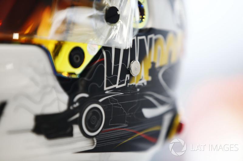 Helmet detail of Stoffel Vandoorne, McLaren, showing a new design for his home grand prix
