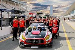 Team photo #1 Hofor-Racing Mercedes AMG GT3: Michael Kroll, Chantal Kroll, Roland Eggimann, Kenneth Heyer, Christiaan Frankenhout