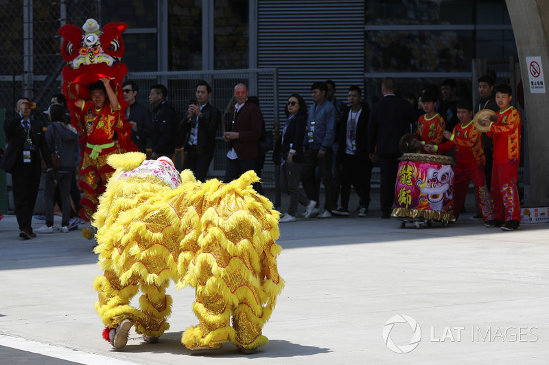 Chinese drums and dragon costumes in the paddock