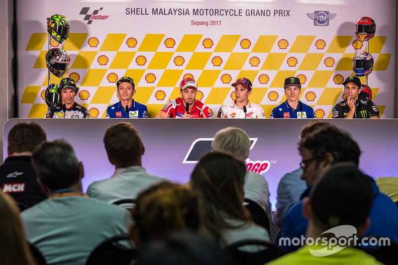 Press conference: Franco Morbidelli, Marc VDS, Valentin Rossi, Yamah Factory Racing, Andrea Dovizioso, Ducati Team, Marc Marquez, Repsol Honda Team, Maverick Viñales, Yamaha Factory Racing, Johann Zarco, Monster Yamaha Tech 3