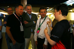 E-Sports winner Brendon Leigh celebrates, Sean Bratches, Managing Director of Commercial Operations, Formula One Group