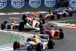 Italian GP 1993, start action, Alain Prost, Williams, Damon Hill, Williams, Jean Alesi, Ferrari, and Ayrton Senna, McLaren