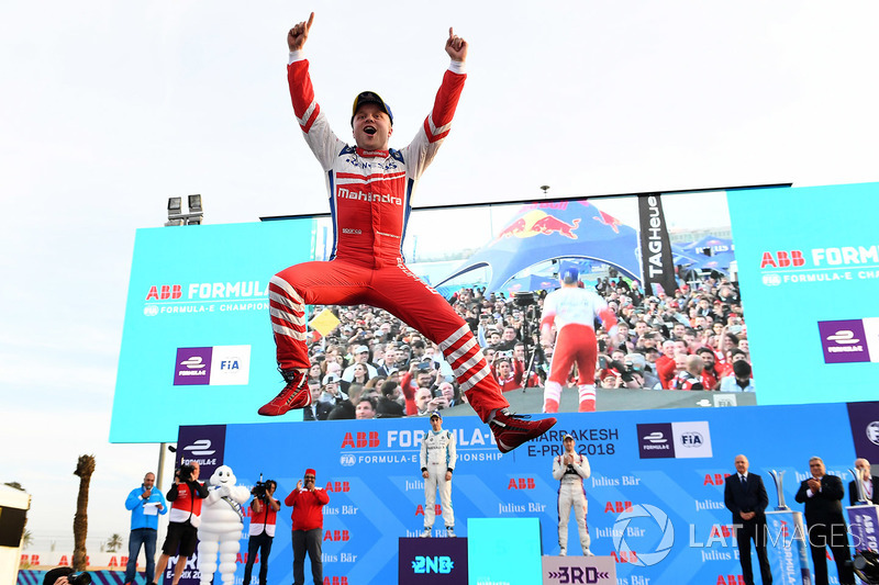 4. Podium: race winner Felix Rosenqvist, Mahindra Racing