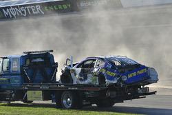 Chase Elliott, Hendrick Motorsports Chevrolet Camaro shows damage after a crash