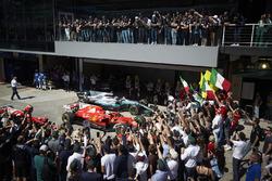 Sebastian Vettel, Ferrari SF70H, race winner, Valtteri Bottas, Mercedes AMG F1 W08, second place