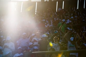 Fans cheer in the grandstand