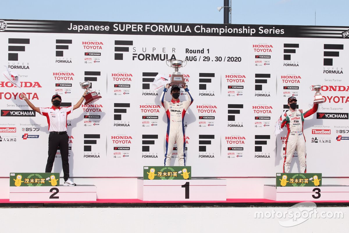 Podium: Ryo Hirakawa (Team Impul), Masahiko Kondo (Kondo Racing team director), Sacha Fenestraz (Kondo Racing)
