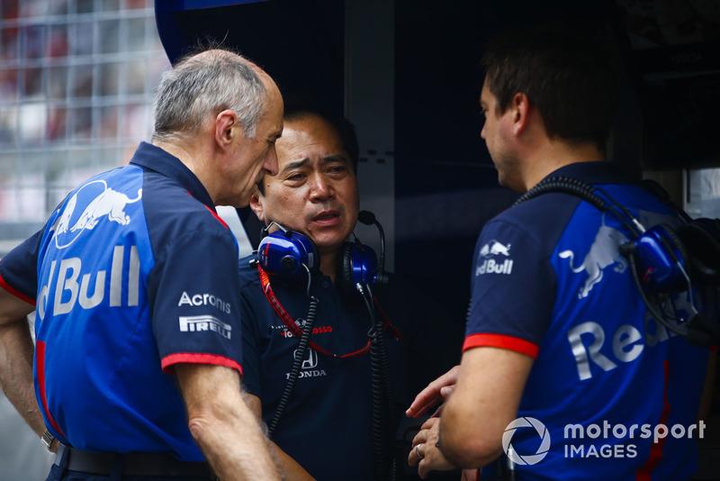 Franz Tost, Team Principal, Scuderia Toro Rosso, Toyoharu Tanabe, F1 Technical Director, Honda