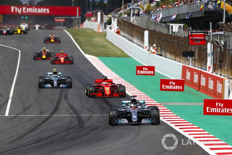 Lewis Hamilton, Mercedes AMG F1 W09, Sebastian Vettel, Ferrari SF71H, Valtteri Bottas, Mercedes AMG F1 W09 y Kimi Raikkonen, Ferrari SF71H