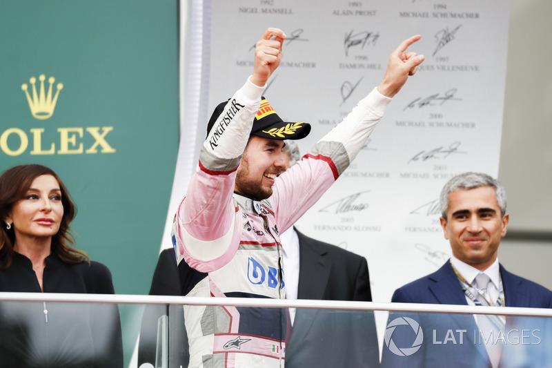Sergio Perez, Force India celebra en el podio
