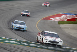 Brad Keselowski, Team Penske, Ford Fusion Discount Tire, Kevin Harvick, Stewart-Haas Racing, Ford Fusion Busch Light, and Kyle Busch, Joe Gibbs Racing, Toyota Camry Snickers Intense
