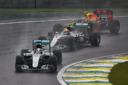 Lewis Hamilton, Mercedes F1 W07 Hybrid, leads Nico Rosberg, Mercedes F1 W07 Hybrid, and Max Verstappen, Red Bull Racing RB12