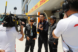 Actress Carina Lau and Fernando Alonso, McLaren, are interviewed