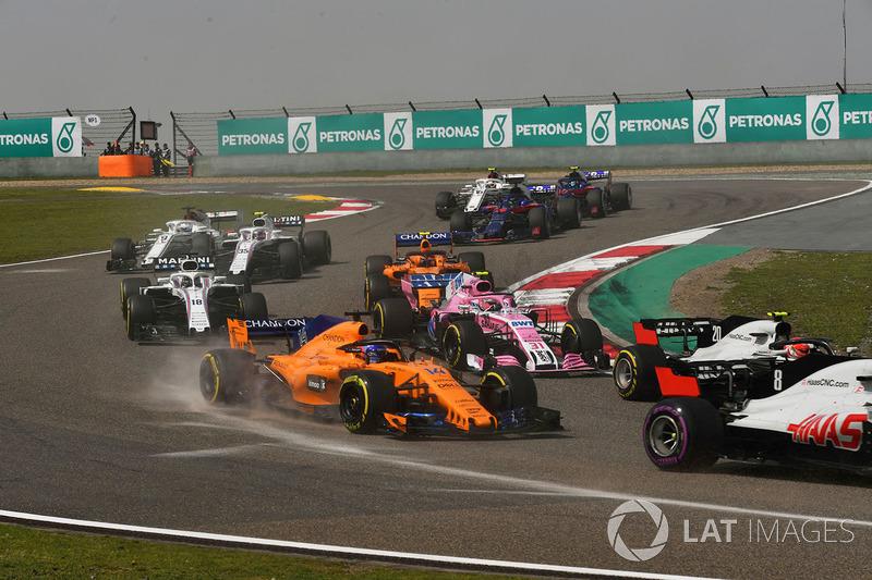 Fernando Alonso, McLaren MCL33 alla partenza della gara