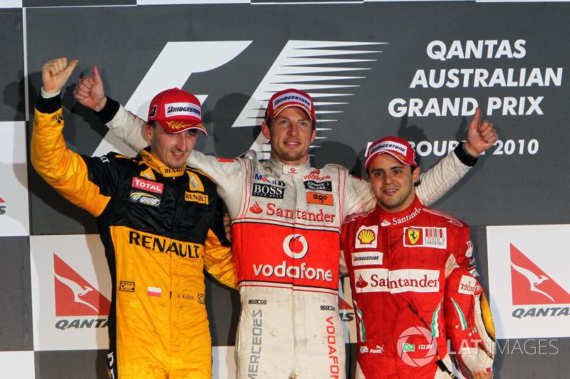 2010: 1. Jenson Button, 2. Robert Kubica, 3. Felipe Massa