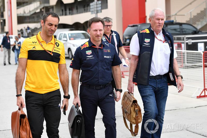 Cyril Abiteboul, Renault Sport F1 Managing Director, Christian Horner, Red Bull Racing Team Principal and Dr Helmut Marko, Red Bull Motorsport Consultant