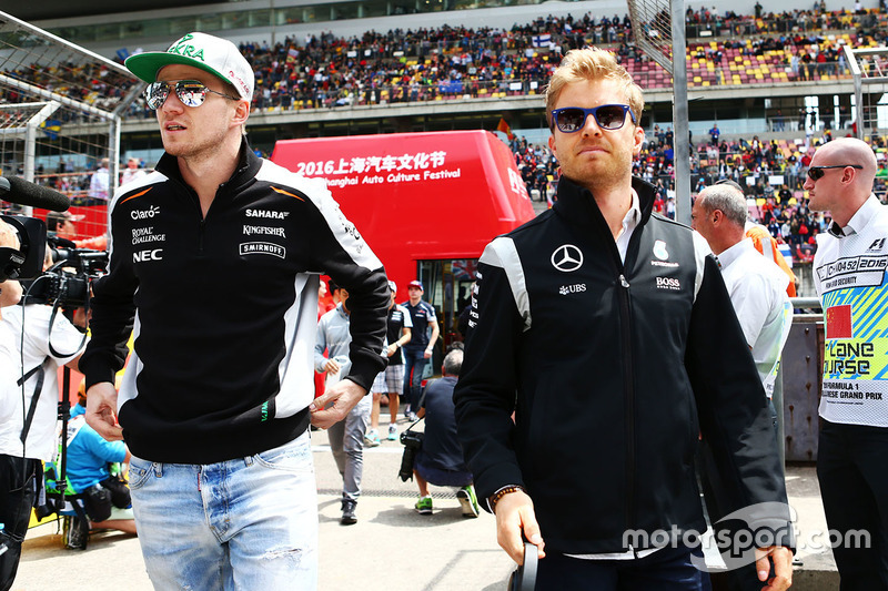 Nico Hulkenberg, Sahara Force India F1 and Nico Rosberg, Mercedes AMG F1 on the drivers parade