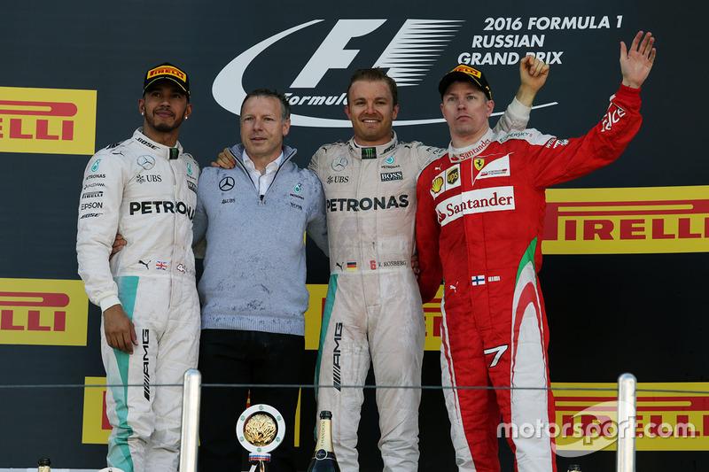 2016 : 1. Nico Rosberg, 2. Lewis Hamilton, 3. Kimi Räikkönen