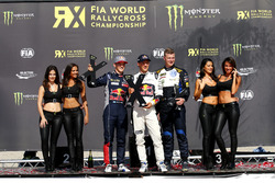 Podium: Race winner Mattias Ekström, EKS RX; second place Timmy Hansen, Team Peugeot Hansen; third p