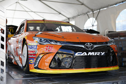 The car of Carl Edwards, Joe Gibbs Racing Toyota goes through inspection