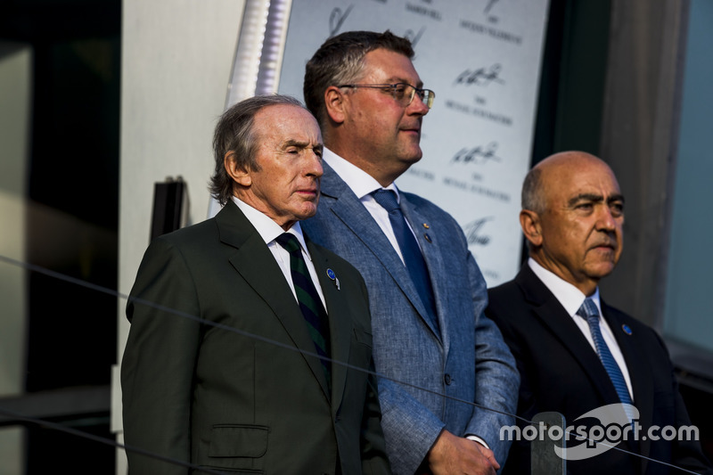 Sir Jackie Stewart on the podium