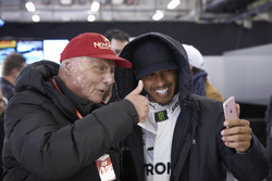 Niki Lauda, Non-Executive Chairman, Mercedes AMG, and Lewis Hamilton, Mercedes AMG