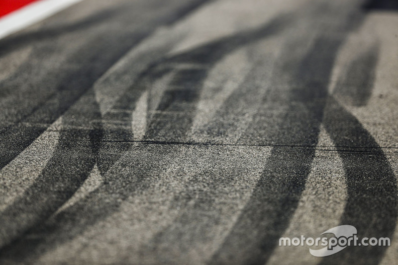 Tyre marks on the track