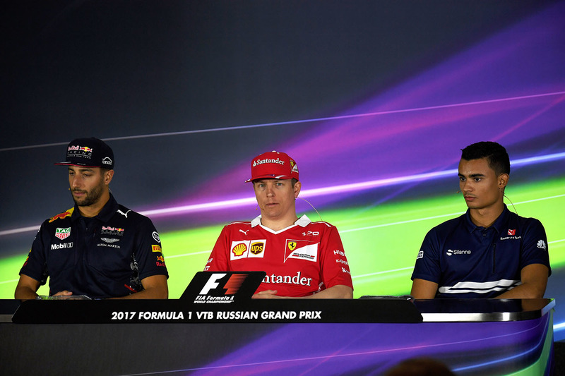 Daniel Ricciardo, Red Bull Racing, Kimi Raikkonen, Ferrari and Pascal Wehrlein, Sauber in the Press Conference