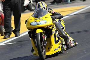 NHRA Qualifying report Suzuki rider Stoffer having no problem dealing with Dallas heat