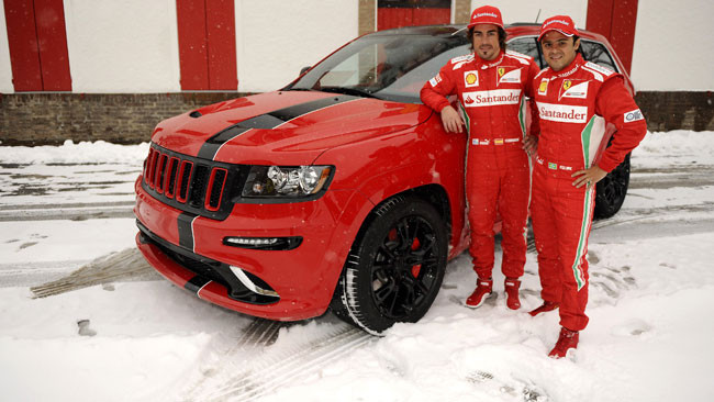 Alonso e Massa con la Jeep Grand Cherokee SRT8