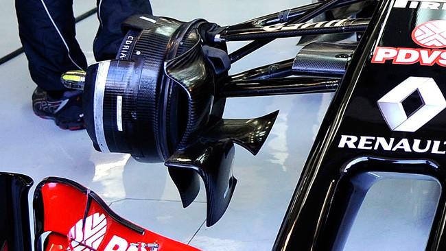Lotus E22: la presa freni con un profilo svergolato