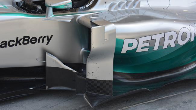 Mercedes: la W05 mostra i deviatori di flusso a ponte