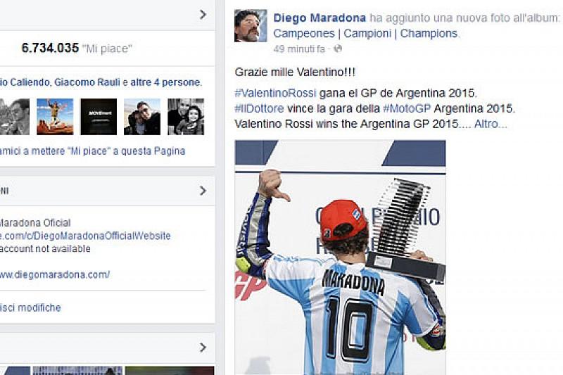 Maradona ringrazia Valentino per il tributo sul podio