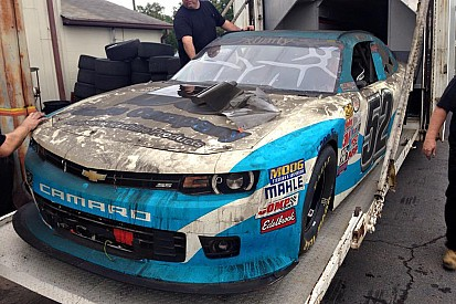 Jimmy Means Racing Xfinity hauler catches fire