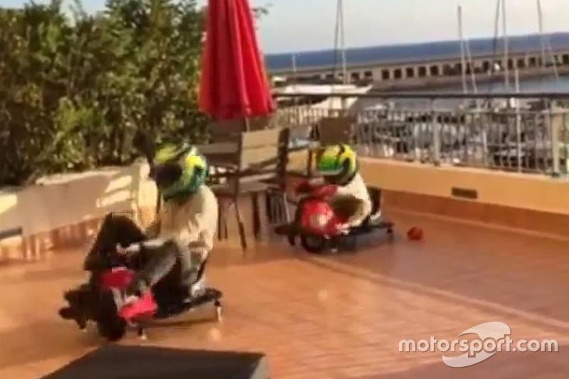 """Massa brinca com o filho e """"aquece"""" para o GP do Brasil"""