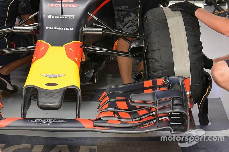 Технический брифинг: зубчатые элементы переднего крыла Red Bull RB12