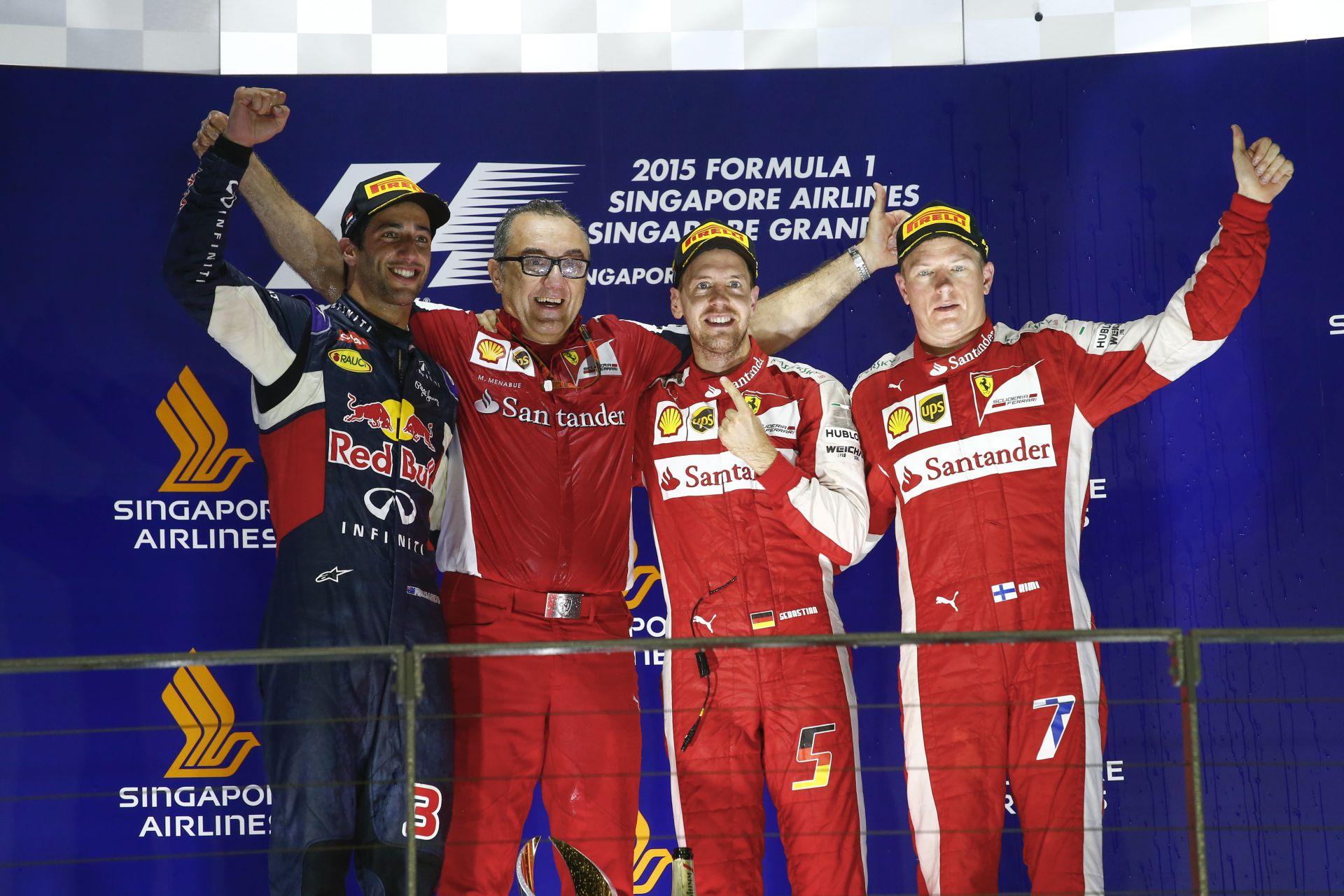 Felvételek a Szingapúri Nagydíj leintését követően: megőrültek a Ferrarinál!