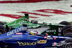 The heat is on: Eddie Irvine and Nick Heidfeld