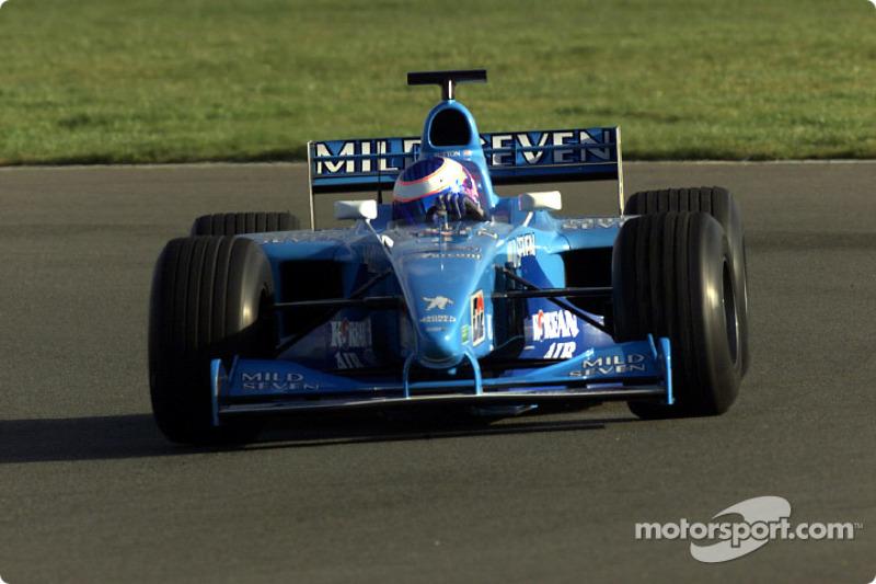 Jenson Button testing the B201