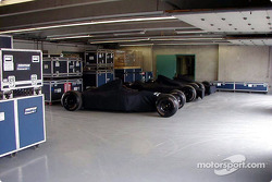 Inside Minardi garage