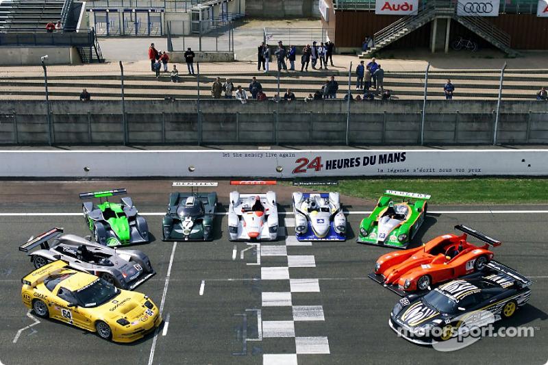 Los competidores más importantes en Le Mans: Chevrolet, Cadillac, MG, Bentley, Audi, Chrysler, Courage-Peugeot, Panoz y Saleem
